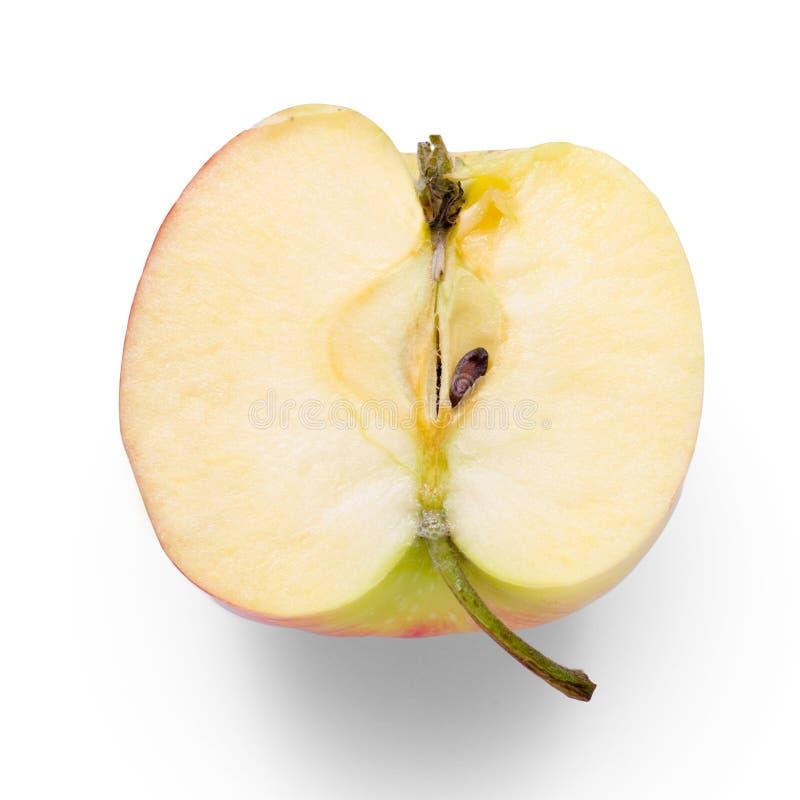 Jabłczana połówka na białym tła odosobnieniu obrazy royalty free
