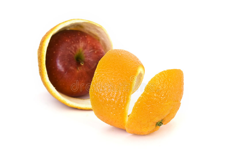 jabłczana pomarańczowej łupy czerwień zdjęcie royalty free