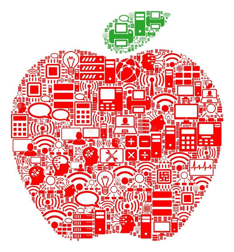 Jabłczana skład ikona dla BigData i Obliczać ilustracji