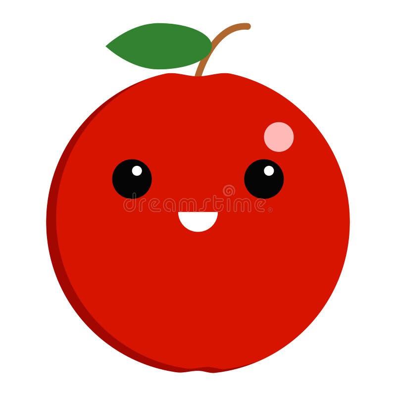 Jabłczana uśmiechający się twarzy emoji wektoru ilustracja royalty ilustracja