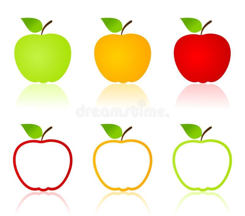 jabłczane ikony ilustracji