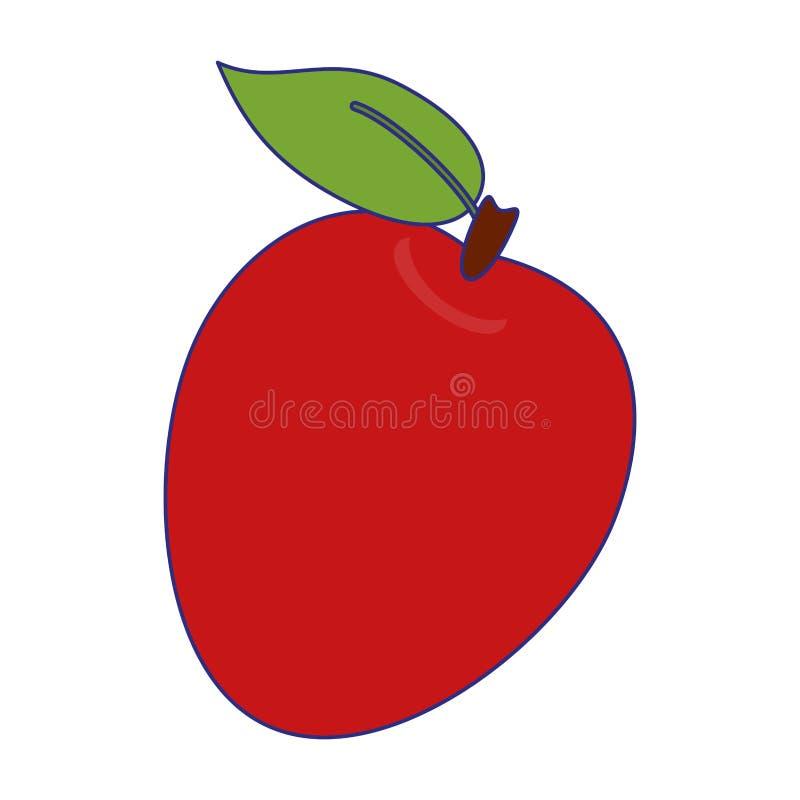 Jabłczane owocowe świeża żywność niebieskie linie ilustracja wektor