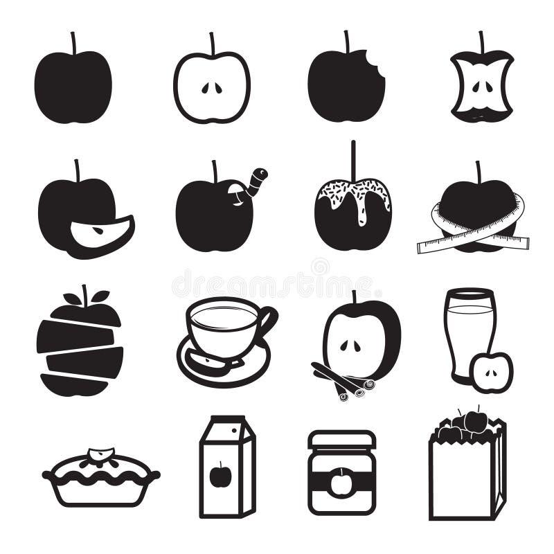 Jabłczane produkt ikony Ustawiać zdjęcia stock