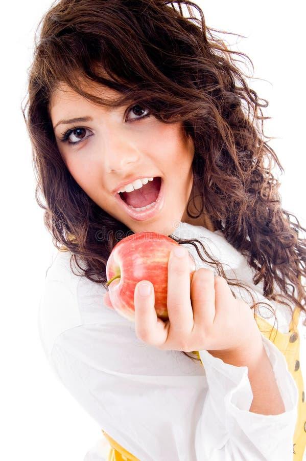 jabłczanego łasowania świeża wspaniała kobieta fotografia stock