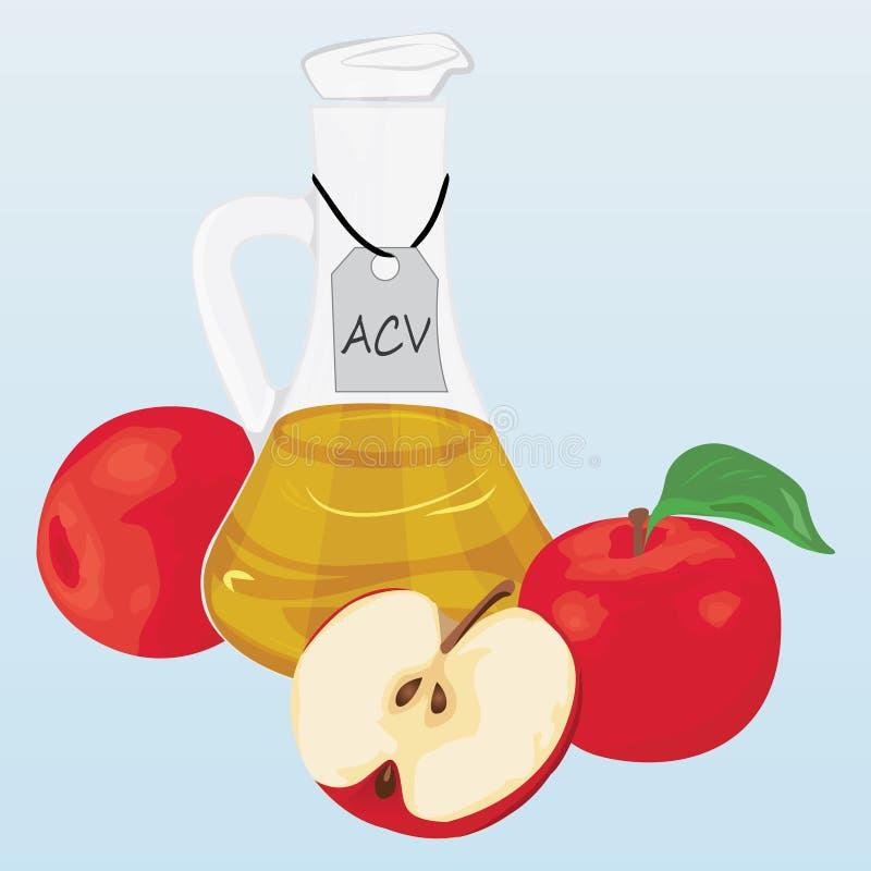 Jabłczanego cydru jabłka i ocet royalty ilustracja