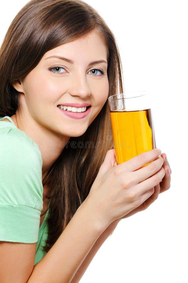 jabłczanego piękna szklana soku kobieta fotografia royalty free