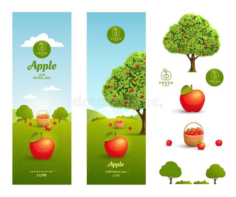 Jabłczanego soku pakować ilustracja wektor