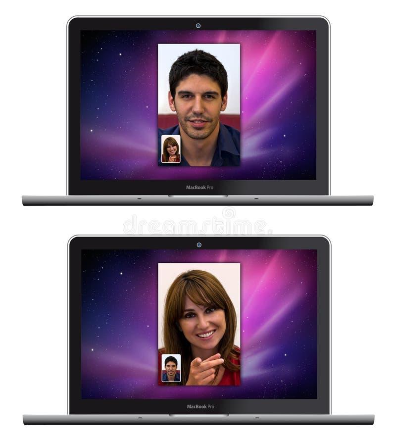 jabłczanego twarzy macbook nowy pro czas whit ilustracji