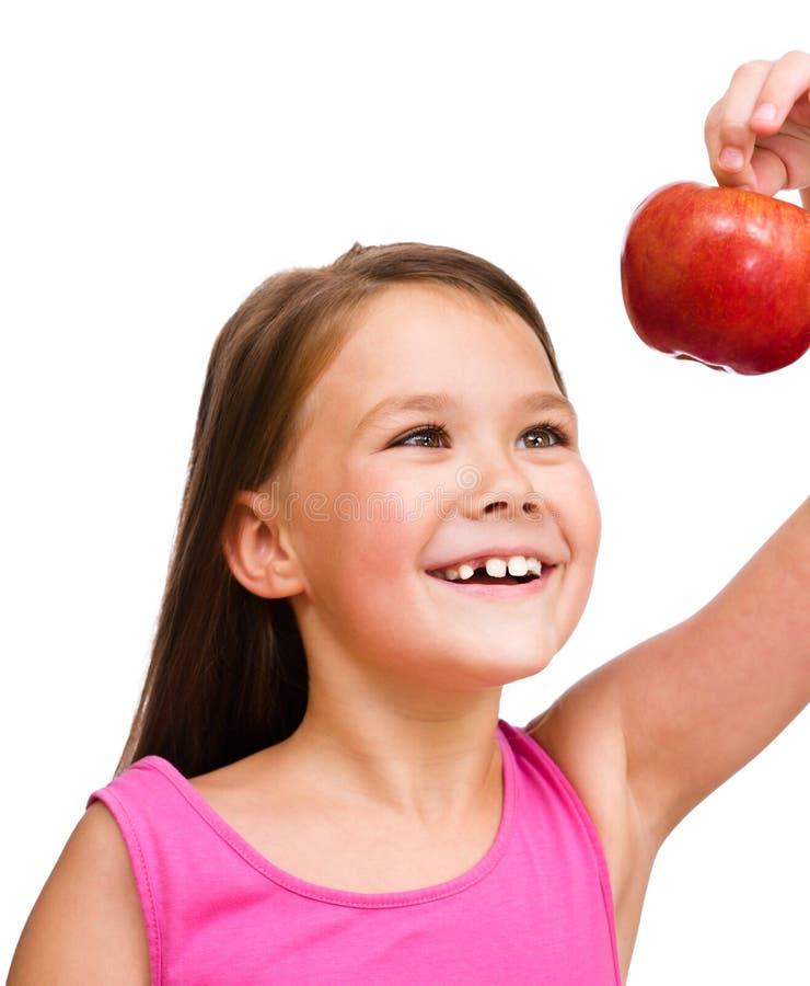 jabłczanej dziewczyny mała czerwień zdjęcie royalty free