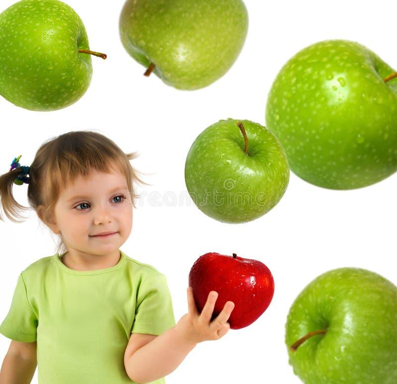 jabłczanej dziewczyny mały czerwony dojrzały obrazy stock
