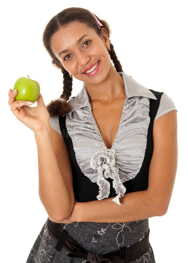jabłczanej dziewczyny zielony ja target2958_0_ zdjęcia stock