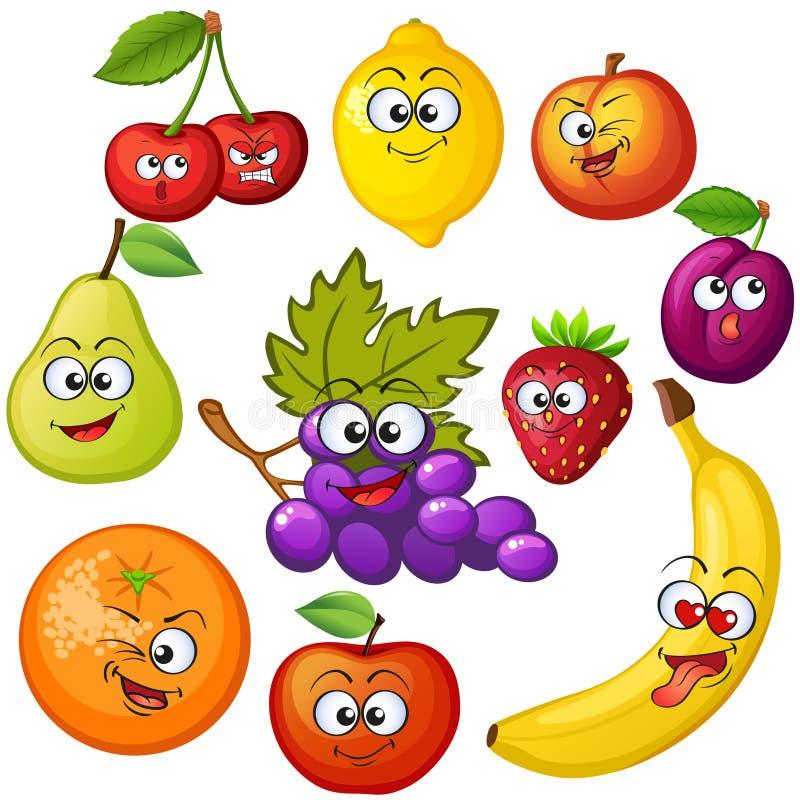 jabłczanej postać z kreskówki wiśni owoc odosobniony bonkrety biel Owocowi emoticons Winogrono, pomarańcze, jabłko, cytryna, trus ilustracji