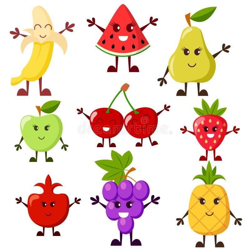 jabłczanej postać z kreskówki wiśni owoc odosobniony bonkrety biel Winogrono, arbuz, jabłko, truskawka, banan, wiśnia, bonkreta,  ilustracja wektor