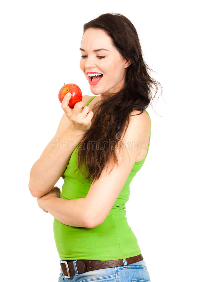 jabłczani szczęśliwi mienia kobiety potomstwa zdjęcia stock