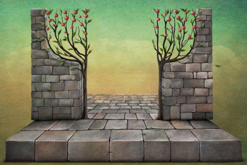 jabłczani tła ilustraci drzewa royalty ilustracja