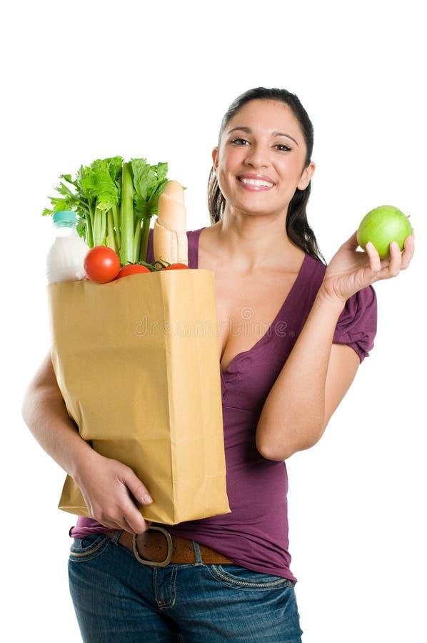 jabłczani torby zielonego sklep spożywczy kobiety potomstwa zdjęcie stock