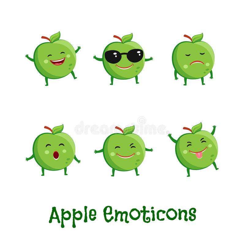 Jabłczani uśmiechy Śliczni kreskówek emoticons Emoji ikony ilustracja wektor
