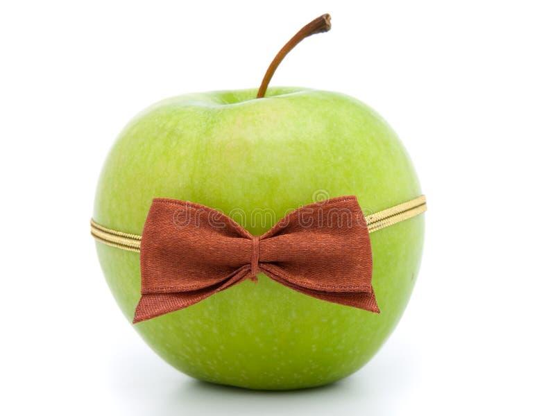 jabłczany łęku zieleni krawat fotografia stock