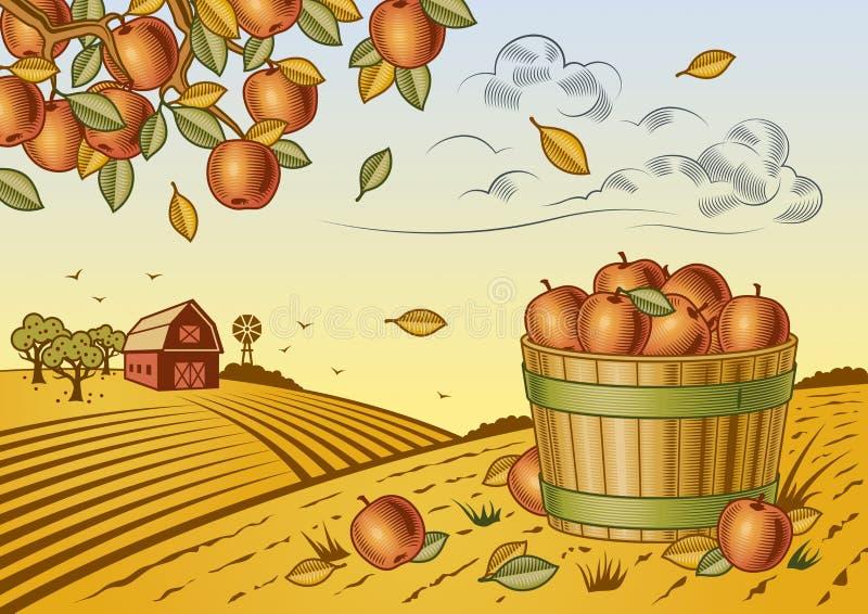 Jabłczany żniwo krajobraz royalty ilustracja