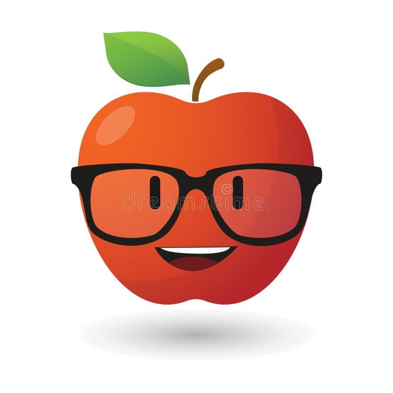 Jabłczany avatar jest ubranym szkła ilustracja wektor