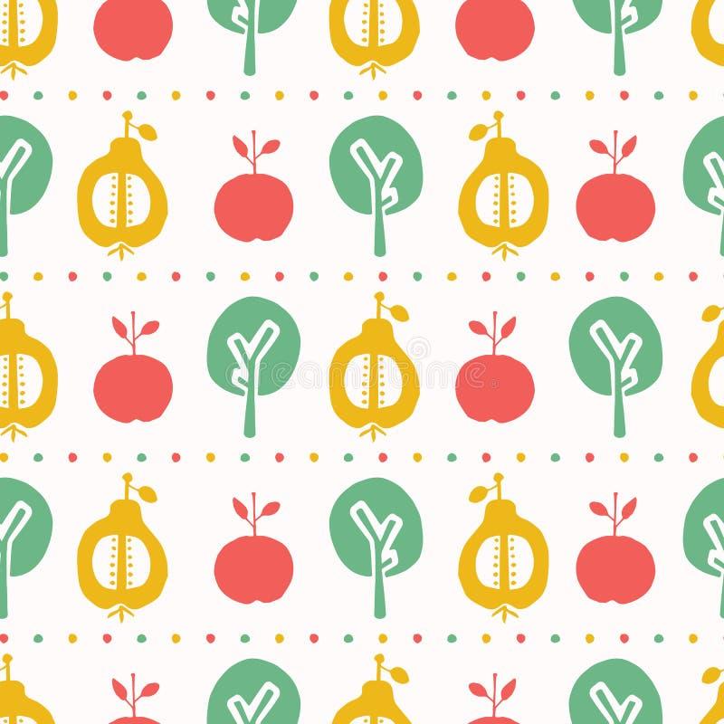 Jabłczany bonkrety drzewa wektoru wzoru bezszwowy tło Ręka rysujący papierowy ciie za lampasach Matisse styl Owoc ogrodowa ludowa ilustracja wektor