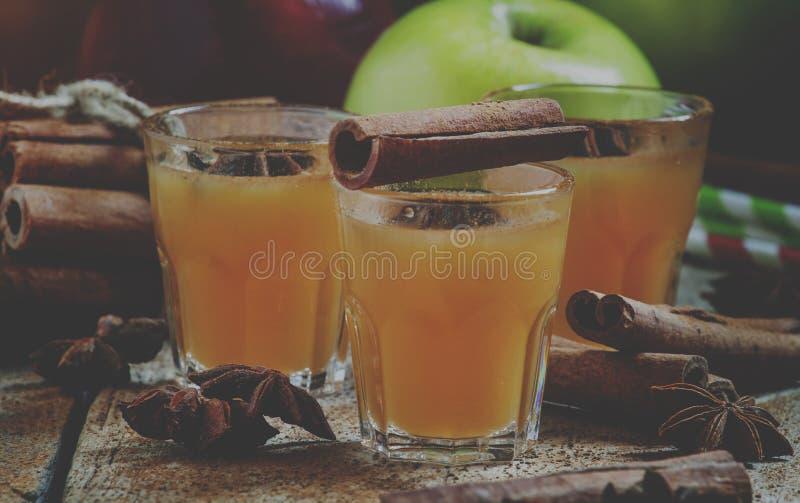 Jabłczany cydr z cynamonem, anyż, selekcyjna ostrość i tonujący i, obraz stock