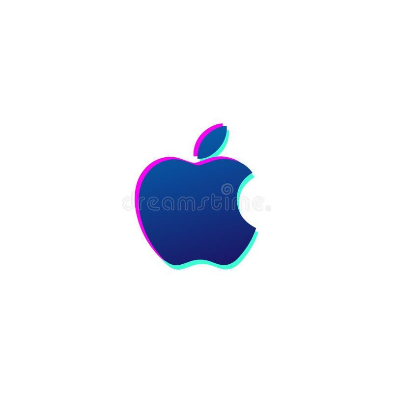 jabłczany ikona logo lub symbolu wektor odizolowywający ilustracja wektor