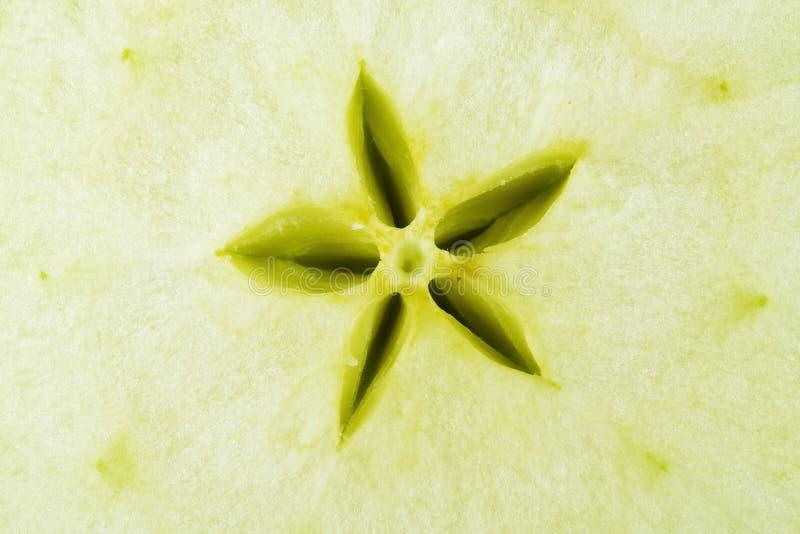 jabłczany inkasowy jedzenia zieleni macro zdjęcia royalty free