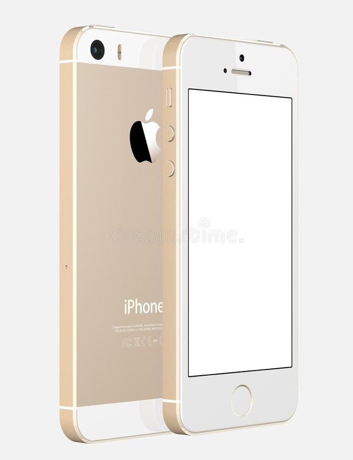 Jabłczany iPhone 5s wystawia pustego bielu ekran ilustracja wektor