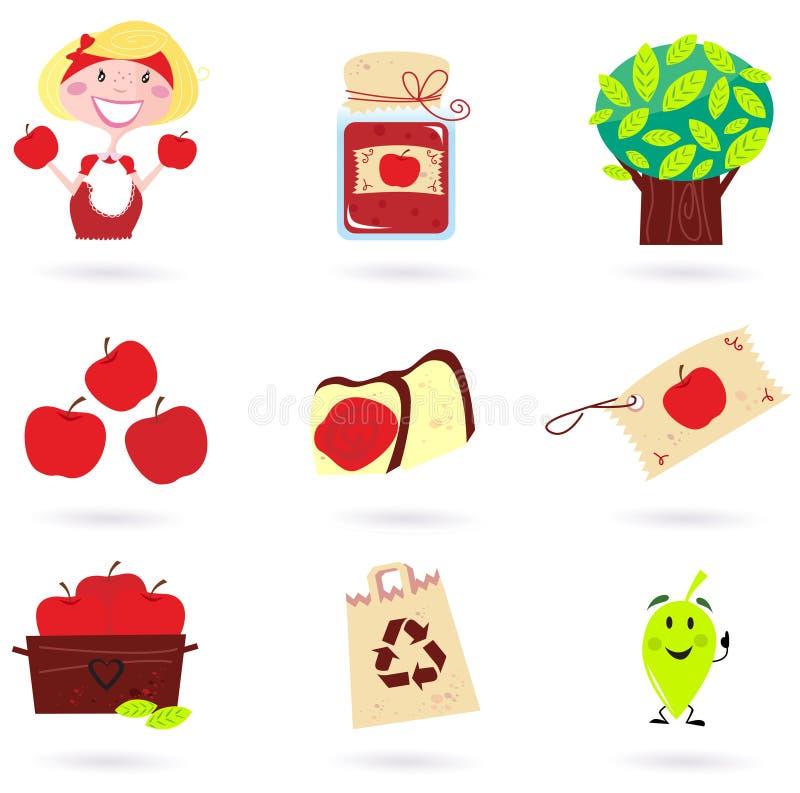jabłczany jesień zieleni ikon natury czerwieni set royalty ilustracja