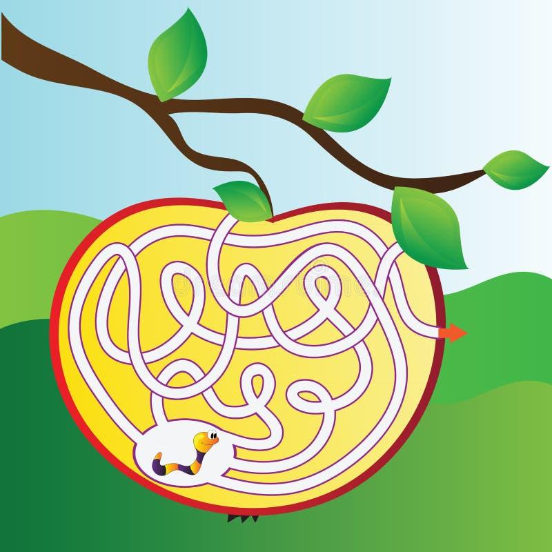 Jabłczany labirynt z dżdżownicą ilustracji
