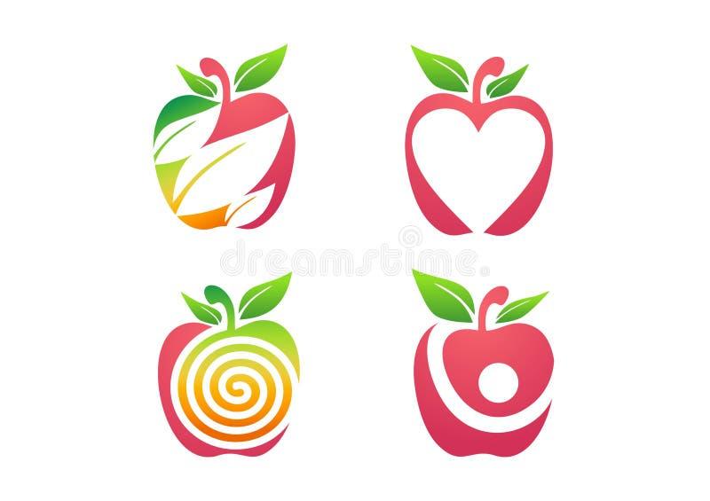 Jabłczany logo, świeżej jabłczanej owocowej odżywiań zdrowie natury ikony ustalony symbol royalty ilustracja