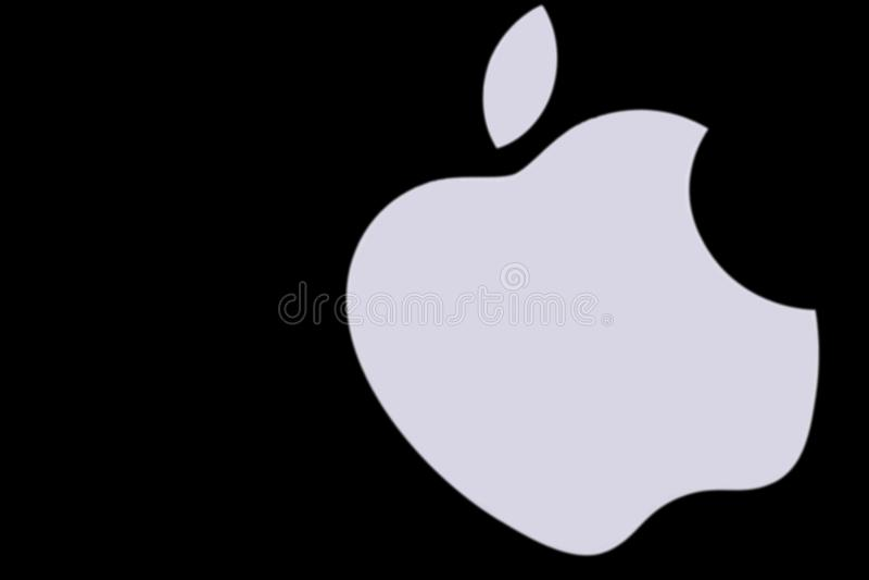 Jabłczany logo drukujący na białym papierze Apple jest wielonarodowym techniką zdjęcie royalty free