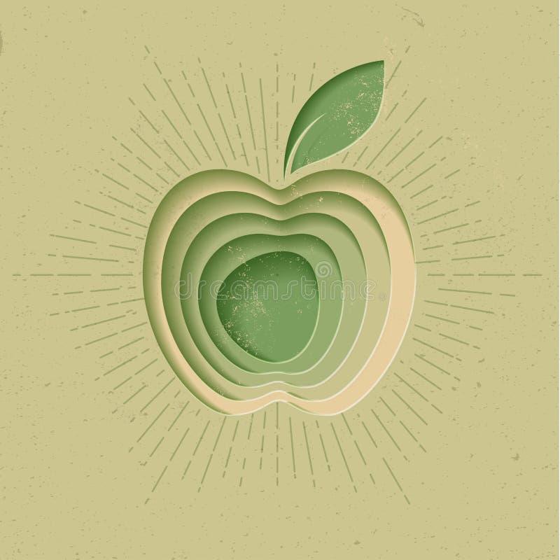 Jabłczany logo ikony plakat Nowożytna Projektująca Wektorowa ilustracja ilustracja wektor