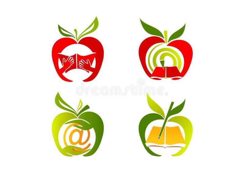 Jabłczany logo, zdrowa edukaci ikona, owoc uczy się symbol, świeży nauki pojęcia projekt royalty ilustracja