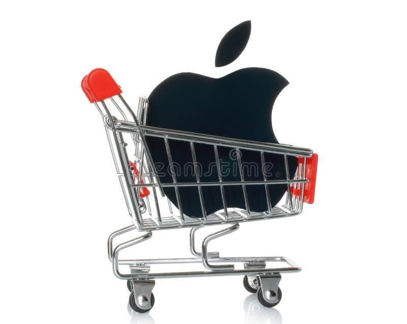 Jabłczany logotyp drukujący na papierowym i umieszczający w wózek na zakupy obrazy stock