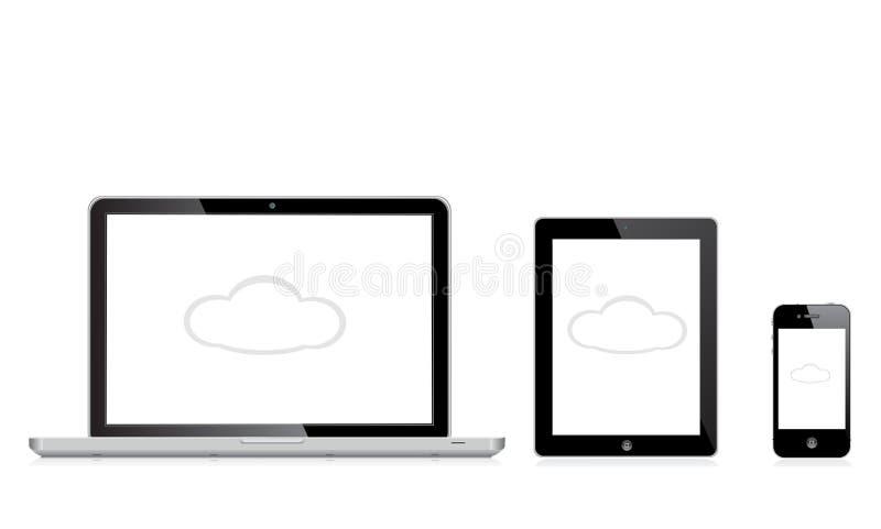 Jabłczany mac ipad iphone royalty ilustracja