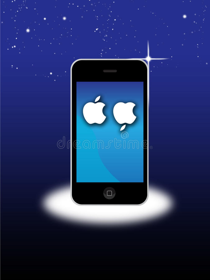 Jabłczany MAC Iphone 4S opłakuje śmierć Steve Pracy ilustracja wektor