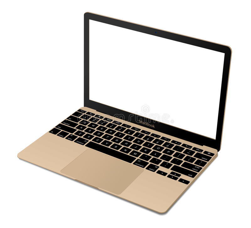 Jabłczany MacBook złoto ilustracja wektor