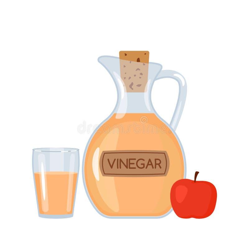 Jabłczany ocet w butelce i szkle z jabłkiem Płaska wektorowa ilustracja odizolowywająca ilustracji