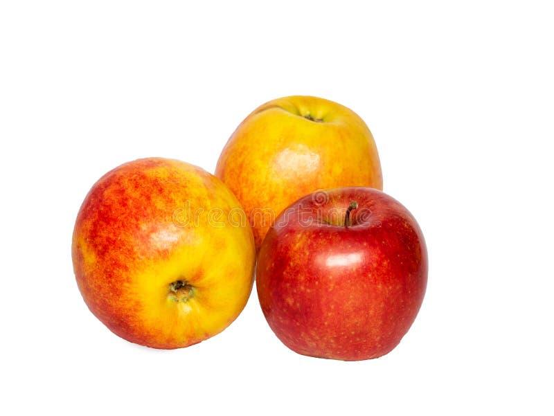 Jabłczany owocowy zbliżenie odizolowywający na białym tle Trzy świeżego smakowitego jabłka Odbitkowa pasta obraz royalty free