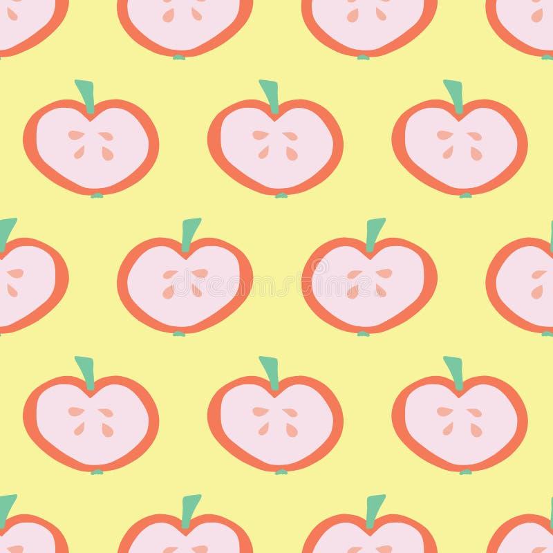 Jabłczany plasterka wzór tło bezszwowy wektora ilustracji