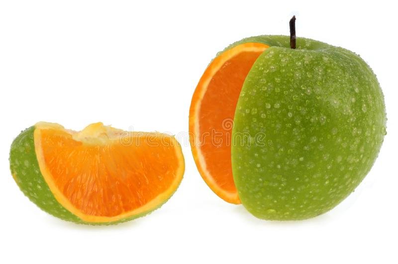 Jabłczany pojęcie z pomarańczową brają zdjęcia royalty free