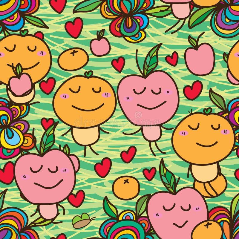 Jabłczany pomarańczowy szalony bezszwowy ilustracji