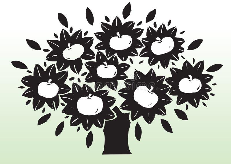 jabłczany rysunkowy drzewo royalty ilustracja