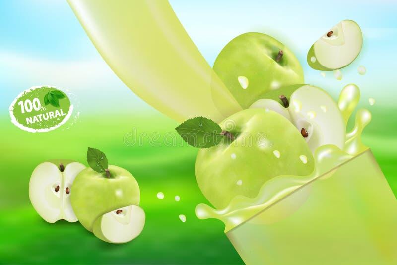 Jabłczany sok z pluśnięciem Przepływ ciecza 3d realistyczne wektorowe ilustracyjne słodkie owoc, pakunku projekt lub plakat, royalty ilustracja