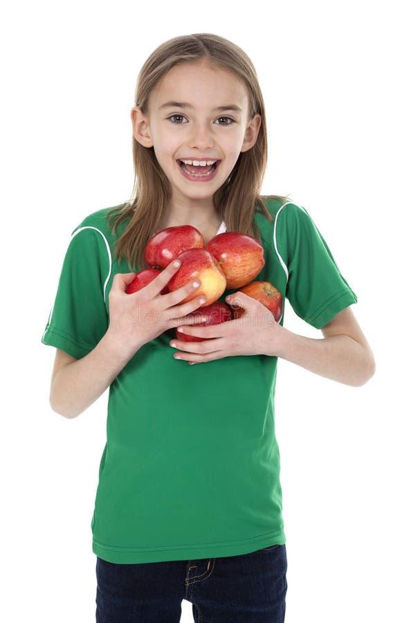 jabłek śliczny dziewczyny mienie trochę zdjęcie royalty free