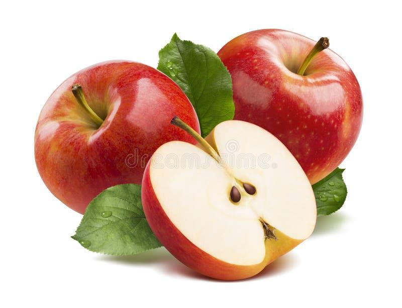 3 jabłek czerwona połówka odizolowywająca na białym tle zdjęcie stock