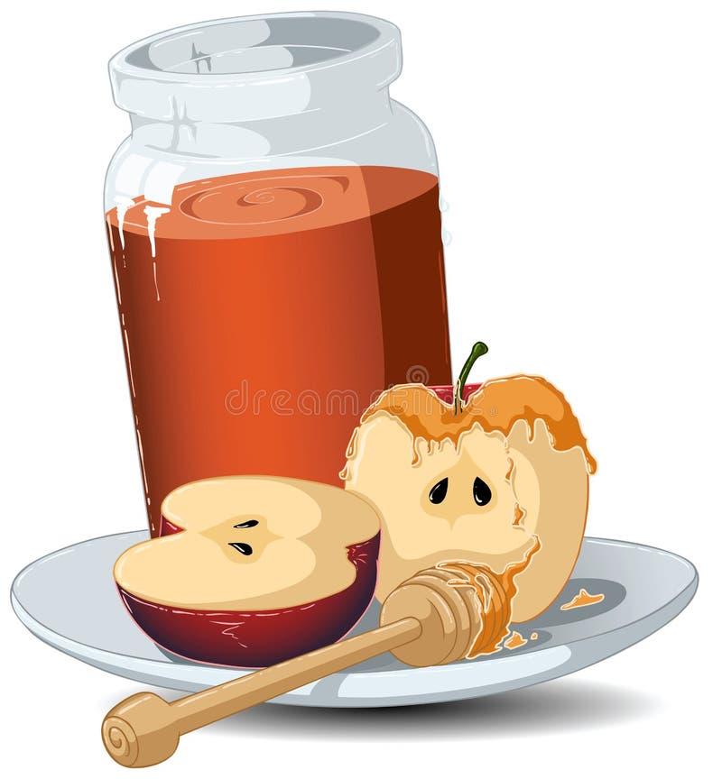 jabłek hashanah miodowy słoju rosh ilustracja wektor