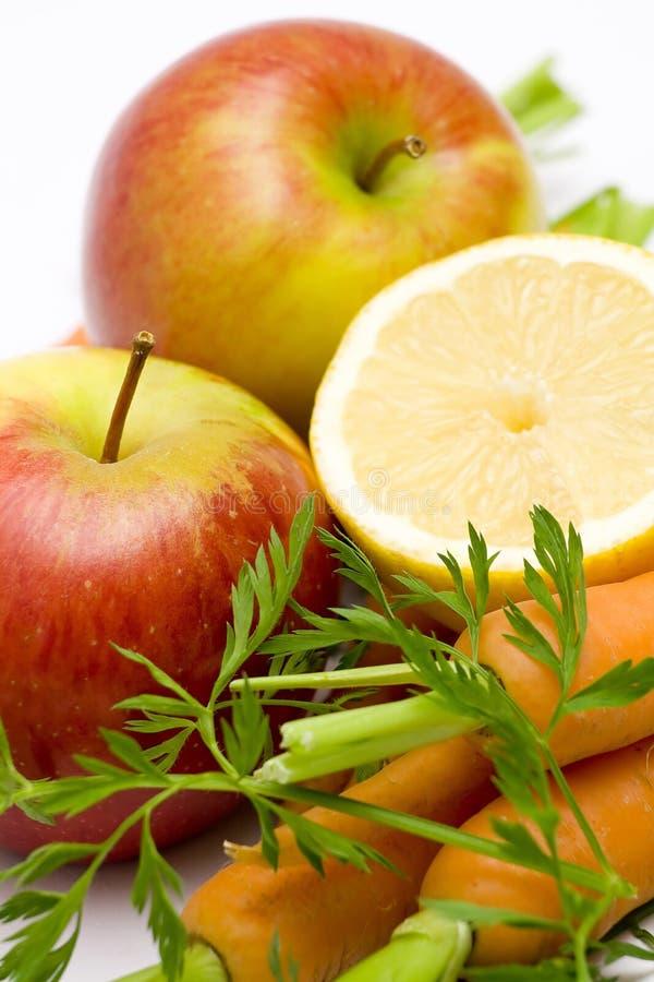jabłek marchewek cytryna zdjęcia stock